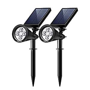 Mpow 2 Stück Gartenleuchten Soleil P2 Superhelle Solarbetriebene Outdoor Spotlight, Wasserdicht für die Hinterhöfe, Gärten, Rasen usw.