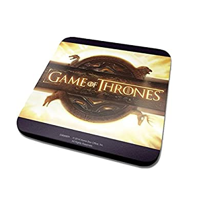 Game Of Thrones Coaster Opening Logo Official Black (10cm x 10cm) One Size