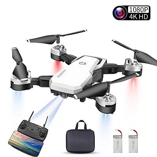 Abblie Drone avec Camera, Mini Drone 1080P HD 4K Pixels, WiFi-FPV Temps Réel, 20 Minutes De Vol 360°Flips Mode sans Tête Maintien De l'altitude pour Les Débutants &Les Enfants(Blanc)