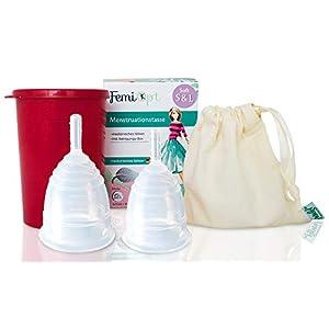 2 Menstruationstassen-weiches gleitfähiges medizinisches Silikon aus DE/AT-sichere nachhaltige Monatshygiene-Reinigungs-Becher-Stoffbeutel-Soft-Größe S und L
