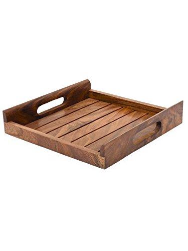 Holz-Serviertablett, Palisander Sheesham Holz Indische Handarbeit für Serviertablett/Esstisch., Palisander, Stil 1, 10x10 inch Holz Serveware
