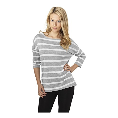 Ladies Loose Striped Tee Grey/White