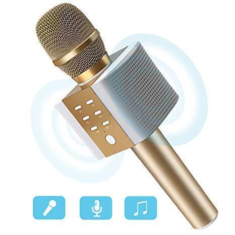 ERAY Mikrofon für Karaoke Kinder, Karaoke Mikrofon Bluetooth 4.2 Lautsprecher, Aufnahme von Gesang für Singen und Musik hören, Tragbares drahtloses Microphone schönes Geschenk für Kinder, Gold