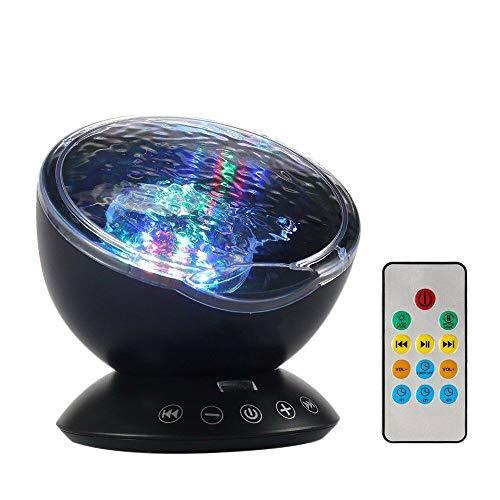 Lámpara Proyector,Luz del Sueño con Control Remoto y Reproductor de Música Incorporado, Soporte TF Card,Proyector de Luz Océano Nocturna para 12 LED y 7 Modos,Un Buen Regalo para Niño, Familia(negro)