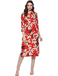 Ives Red & Grey Crepe Printed Kurti For Women