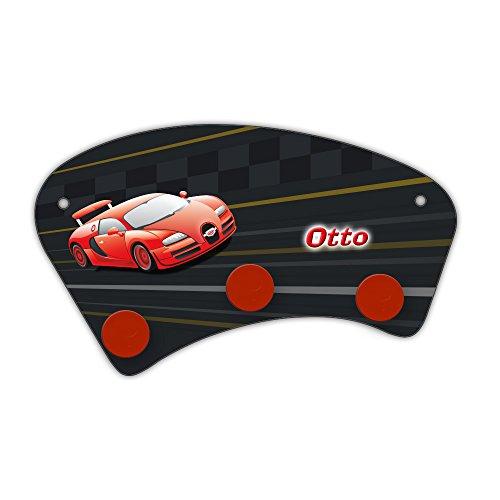 Wand-Garderobe mit Namen Otto und schönem Racing-Motiv für Jungs - Garderobe für Kinder - Wandgarderobe