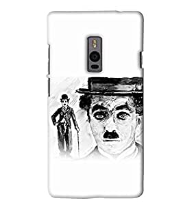 Go Yankee charlie chaplin face sketch Back Cover For One Plus Two
