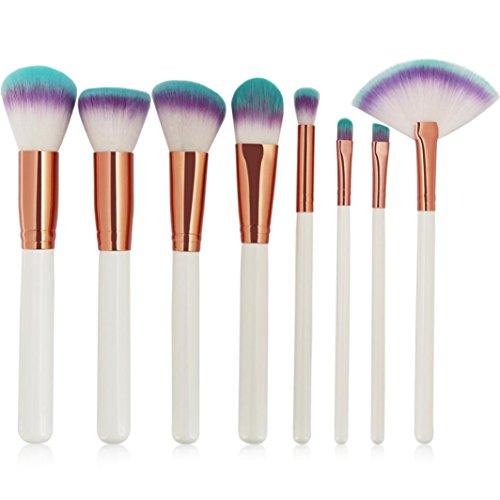 Moonuy 8PCS Beauty Pinceaux Professionnels Maquillage Filles Eyeliner blusher cosmétique correcteur pinceau Makeup Brushes, cadeau Brosse à cils en bois Makeup Brush Set (Blanc)
