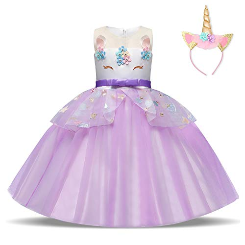 rn Kleid Blume Applique Party Cosplay Halloween Phantasie Kostüm Headwear Größe (150) 7-8 Jahre Lila ()