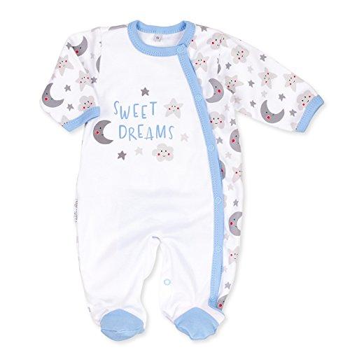 Baby Sweets Baby Strampler Jungen weiß grau hellblau | Motiv: Sweet Dreams | Babystrampler mit Sonne Mond Sterne Motiv für Neugeborene & Kleinkinder | Größe 6 Monate (68) ... (Hellblau-strampler-hosen)