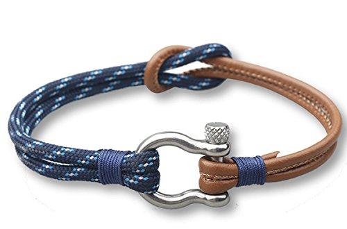 Lederarmband Männer mit Nylon 21-21,5 cm Galeara design THOR Blau/Braun Armband Herren Leder (Blau Wicker)
