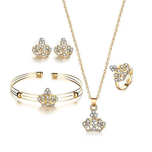 ZWB Schmuck-Sets 1 Gold Farbe Krone Brautschmuck Set Hohl Blume Halskette/Ohrringe/Ring/Armband Hochzeit Zubehör Für Frau - Crystal Rock Damen-t-shirt