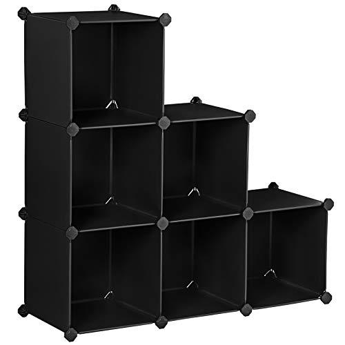 songmics armadietto modulare, guardaroba a 6 cubi, armadio scaffale a scompartimenti, 93 x 31 x 93 cm, nero lpc112
