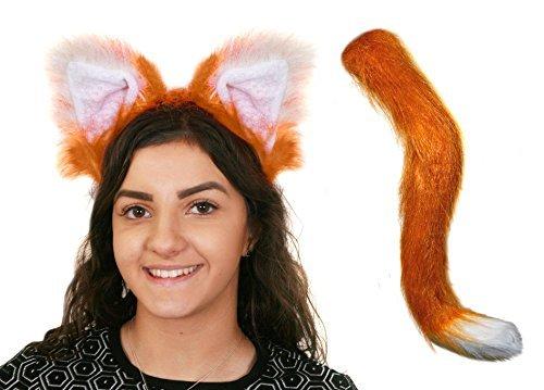 Erwachsene Kunst Fuchs und Kunstpelz Fox Ohren on a Stirnband Maskenkostüm Zubehör perfekt für jede Verkleidung Kostümparty oder , Stageshow Kostüm Schule Buch Woche Welttag des Buches (Kostüm Fox Fluffy Tail)