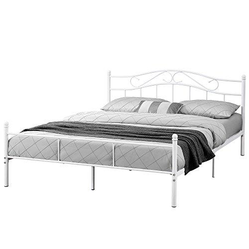[en.casa] Cama de metal doble (Florencia)(180 x 200cm)(blanca) con cabecero curvado / recubrimiento en polvo / somier incluido