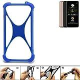 K-S-Trade Bumper für Allview A9 Plus Silikon Schutz Hülle Handyhülle Silikoncase Softcase Cover Case Stoßschutz, blau (1x)