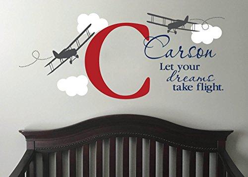 Dreams, Flight Aviation Kinderzimmer Kind Personalisierte Flugzeug Flugzeug Wolken Jungen Raum Monogramm Kinderzimmer Aufkleber 587 ()
