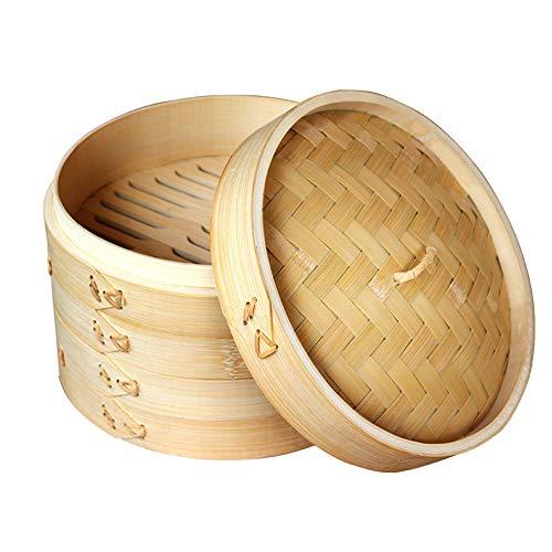 Bambusdämpfer, Bamboo Steamer Set(mit Antihaft pfanne) Handgefertigt hochwertig und langlebig,Dampfgarer aus Bio Bambus,zum Kochen von Dim Sum und Gemüse Reis Fisch und Fleisch,2steamers,29cm