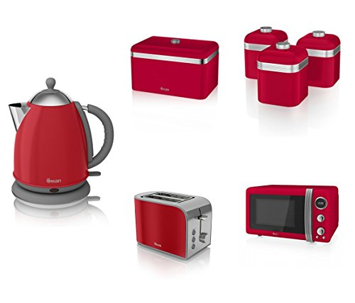 Swan Kitchen Appliance Retro Set - Red Microwave, 1.7l Jug Kettle, 2 Slice Toaster, Retro Breadbin And 3 Canisters Set