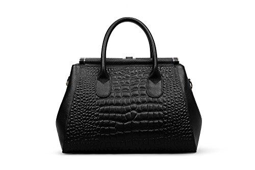 Hermiona Women Genuine Leather Crocodile Grain Shoulder Bag Top-handle Tote Bag Black Toma De La Fábrica Precio Barato Barato Y Agradable Límite De Oferta Barata Alta Calidad Precio Barato fClKp4s