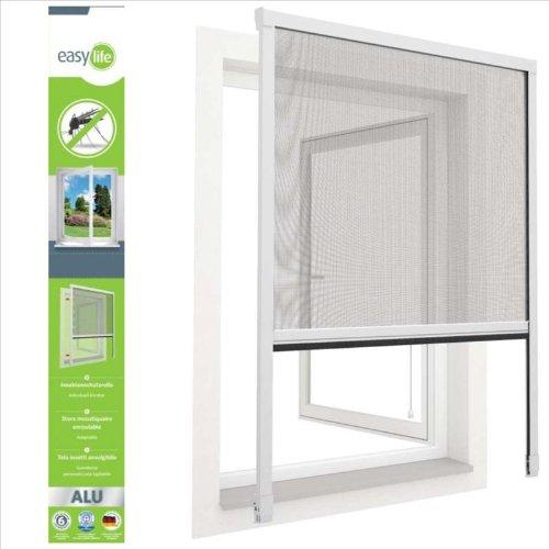 Insektenschutz ALU Rollo für Fenster 100 x 160 cm zum klemmen baun