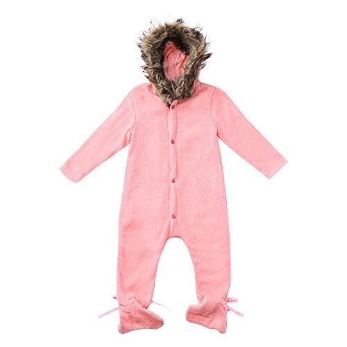 BHYDRY Invierno Infantil Bebé Chico Chica con Capucha Mono del Mameluco De Punto Ropa De Vestir Exteriores Caliente(Rosa,90)