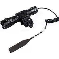 WF-501B Lampe torche tactique LED XM-L T6, 1000 lm, 3,7 V-18 V, 1 mode lampe de poche avec interrupteur de pression et rail de montage Picatinny 45 °, bague décalée pour fixation latérale