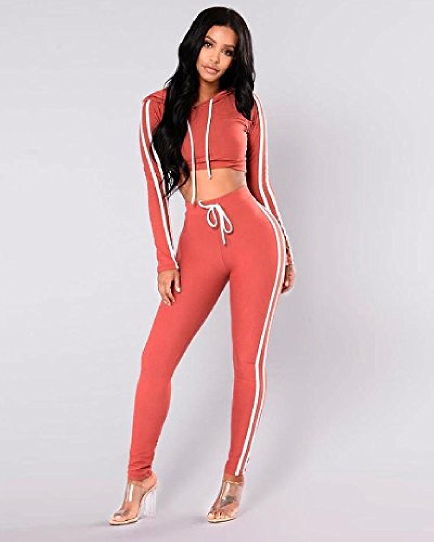 Minetom Femmes Jogging Yoga Survêtement Sports Suits Casual Manches ... 0a0f49603f5