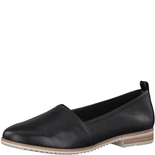Tamaris 1-1-24205-20 Damen Slipper, Mokassins, Halbschuhe, Sommerschuhe für die Modebewusste Frau Schwarz (Black Leather), EU 38 (Leder-leichte Loafer)