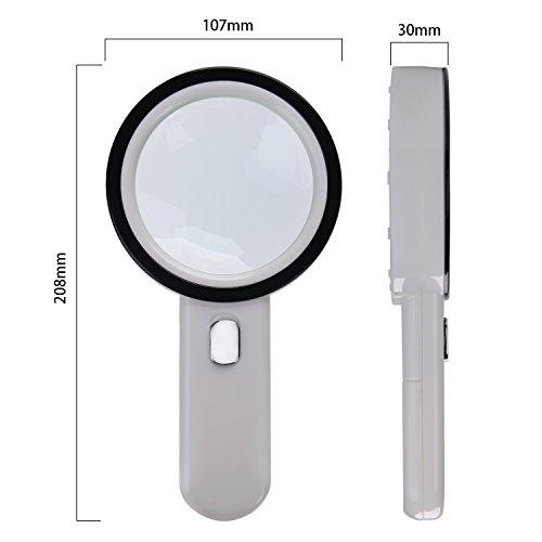 Extra große 12LED mobile Lupe und Licht, XYK 20X Beste Jumbo Größe beleuchtete Lupe für Lesen, Inspektion, erkunden, Hobbys und mehr (weiß). - 3