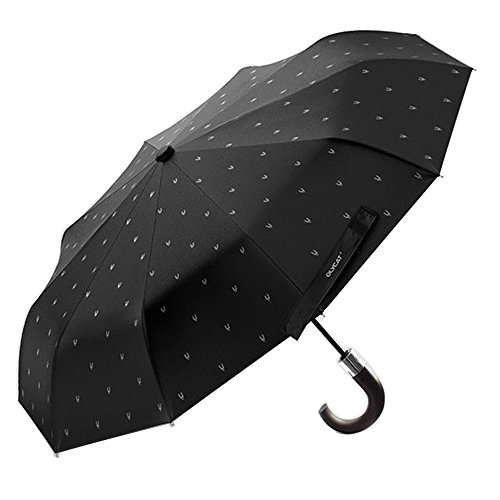 XLORDX Luxus Business Herren Regenschirm Taschenschirm mit automatischem Knopf, 10 verstärkten Rippen, winddicht, leicht & kompakt,mit Hirsch Kopf, Schwarz