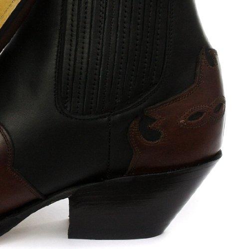 Grinders Arizona Homme Cowboy Bottines, Noir-bourgogne Black/Burgundy