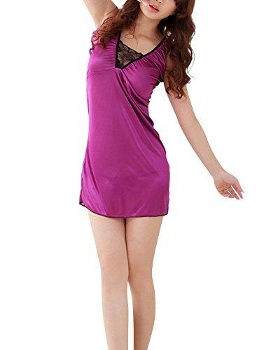 Paplan Damen Glamorous V-Ausschnitt Ice Silk Pyjamas Glatte Nightgown Violett