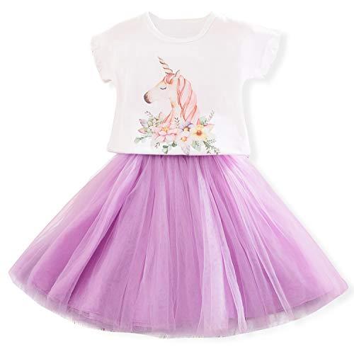Kleine Mädchen Geburtstag Kleid (TTYAOVO Kleinkind Einhorn Lässige Kleid Kleine Mädchen Einhorn Outfit Gedruckt Muster T-Shirt + Tutu Rock Größe 2-3 Jahre Lila)
