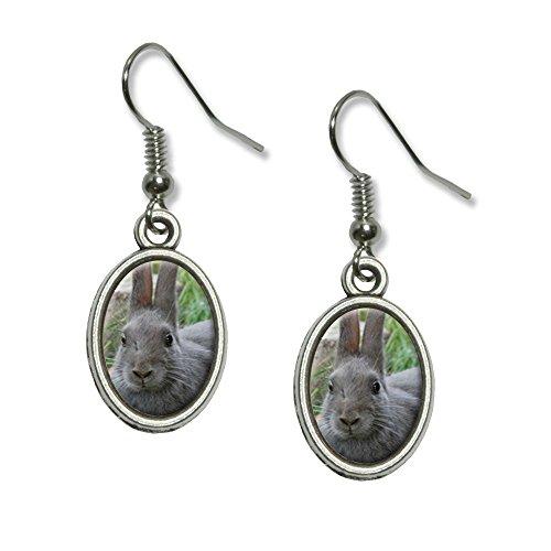 Bunny Kaninchen grau–Ostern Neuheit Dangling Drop oval -