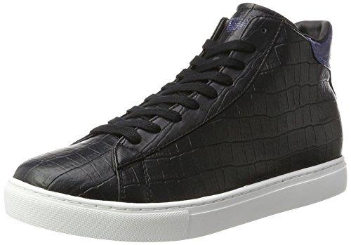 Armani Jeans Herren High Cut Hohe Sneaker, Schwarz (Nero), 44 EU