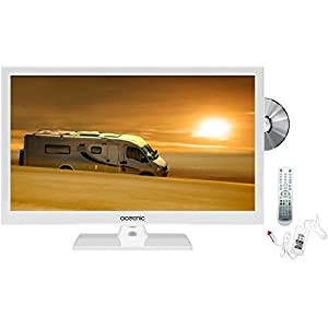 OCEANIC TV LED HD 49.5cm (19.5'') 12V Combo DVD Blanc Camping Car