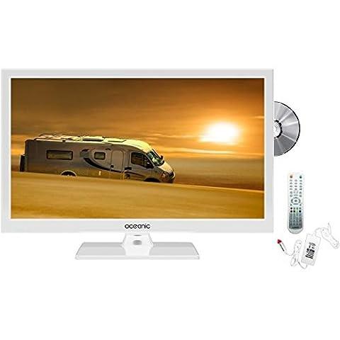 OCEANIC TV LED HD 49.5cm (19.5'') 12V Combo DVD Blanc Camping Car
