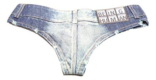 Denim Shorts Mini Hotpants im Used-Look Blau