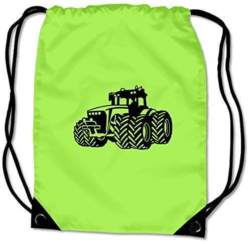 Samunshi® Turnbeutel Traktor Trecker Sportbeutel BG10 Gymsac 45x34cm Lime grün/schwarz