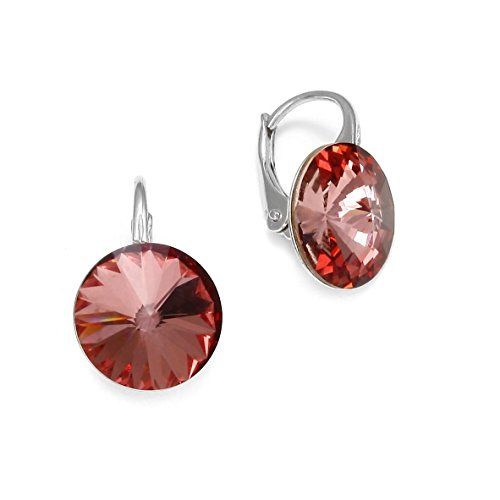 Ana Morales Boucles d'oreille pour femme En argent Sterling 925 Avec cristaux Swarovski® Antik Pink
