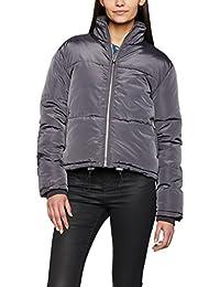 12 New Look Women/'s Cropped Satin Puffer Jacket Grey Dark Grey