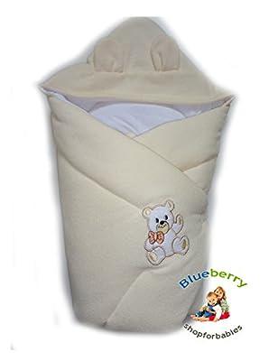 BlueberryShop Encapuchado Thermo Algodón Con Bucles Sábana Manta Edredón Saco de Dormir Regalo 0-4m (0-3m) (78 x 78 cm)