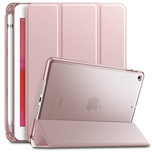 Hülle mit Apple Pencil Halter, Slim Ultraleicht PC Shell Schutzhülle Cover mit Auto Schlaf/Wach Funktion für iPad Mini 5 2019,Rosa Goldene ()