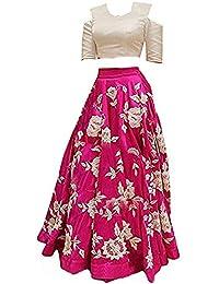 Gold Art Fashion Girls' Banglory Silk Semi Stitched Lehenga Choli (GA014, Multi-Colour, Pack of 2)