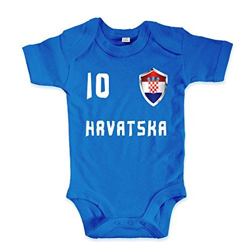 net-shirts Organic Baby Body mit Kroatien Croatia Hrvatska Trikot 02 Aufdruck Fußball Fan WM EM Strampler - Spielernummer wählbar, Größe 06-12 Monate - Spielernummer 10, blau