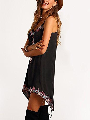 Boho Sexy and Beach Mini Femmes Robe courte Summer Casual manches femme Party Robe de Plage été Noir