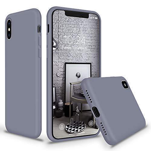 SURPHY iPhone XS Silikon Hülle, iPhone X Silikon Hülle,Schutzschale vor Stürzen und Stößen Silikon Handyhülle für Apple iPhone XS(2018) iPhone X(2017) 5,8 Zoll Lavendel Grau