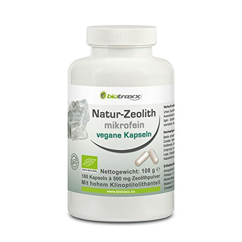 Biotraxx 100% Natural Detox Zeolite Clinoptilolite 180 capsules 500 mg each  microfine quality | Highest qulity product made in Germany