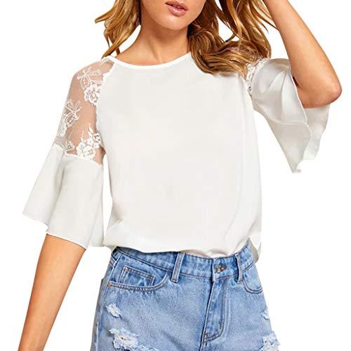 TAMALLU Damen T-Shirt Modische Einfarbig Aushöhlen Spitze Ziemlich Frauen Tunika(Weiß,S)